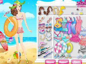 沙滩游泳女孩小游戏